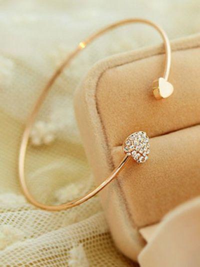 Golden Heart Rhinestone Bracelet