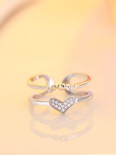 Silverette Love Heart Adjustable CZ Dual Ring