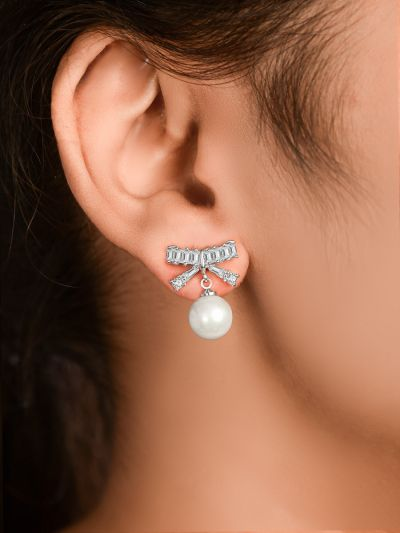 Blooming Bowknot Pearl CZ Earrings