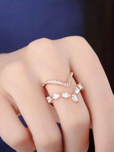 Splendid Stephanie's Adjustable CZ Ring (Rose Gold)