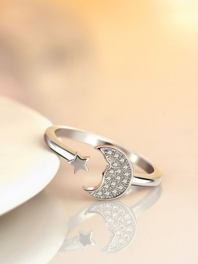 Stars and crescent moon adjustable ring in silver