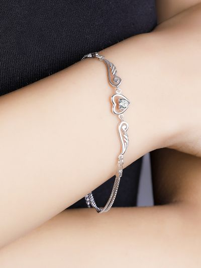 Whimsical Winged White Heart CZ Bracelet