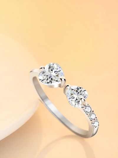 Sophie's Scintillating Hearts CZ Ring- Silver