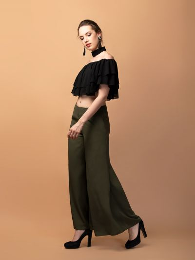 Astonishing Ariana Ruffle Crop Top & Flared Trouser Co-ords
