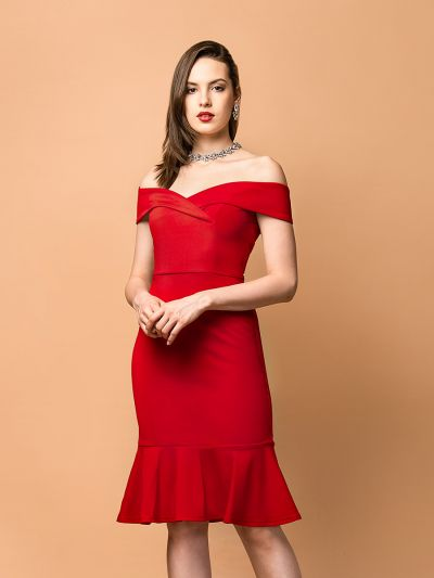 Radiant red Cross-shoulder Fishtail dress