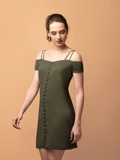 Stunning Samantha Cold-Shoulder Dress