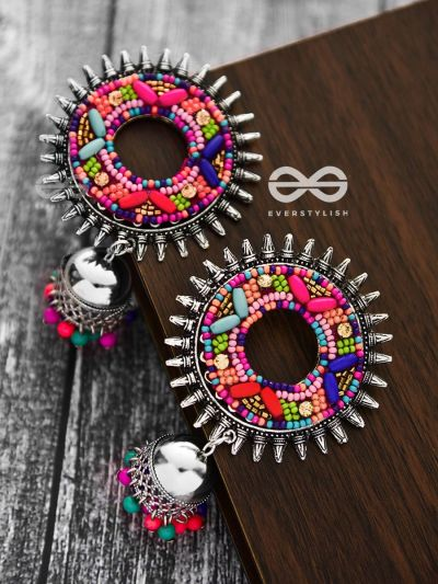 The Rounded Beaded Artwork Jhumkis - The Embroidered Oxidised Collection