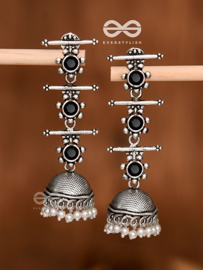 The Elegant Delight - Triple Layered Jhumkas (Onyx Black)