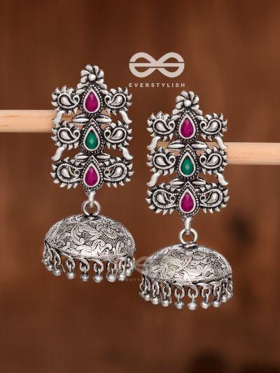 The Intricate Wonders (Ruby Emerald) - Embellished Oxidised Jhumkas