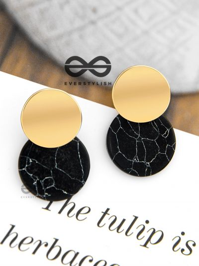 The Chic Marbles (Black) - Casual Golden Earrings