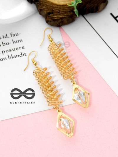 Spiralling in Style - Casual Golden Danglers