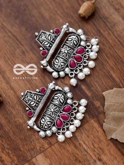 The Boho chic Intricate Embellished statement earrings (Ruby Red)
