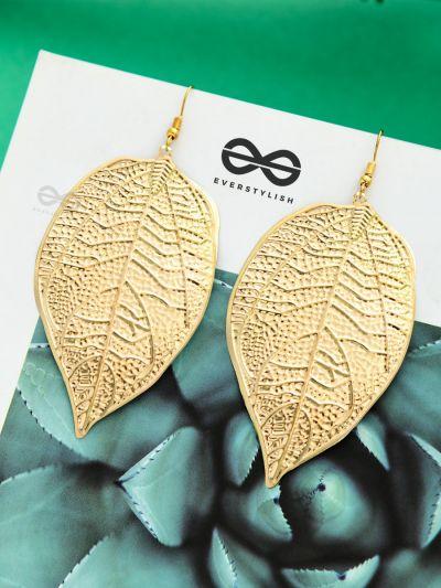 The Shimmery Leaflets - Golden Dangling Earrings