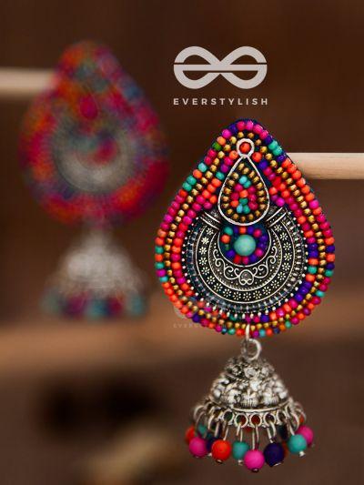 Vivaciously vibrant Intricate beaded jhumki earrings