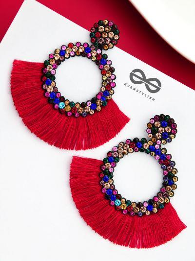 A Shimmery Allure - Statement Tassel Earrings (Red)