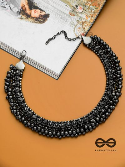 The Bohemian Classic - Oxidised Statement Necklace (Gun-Metal Black)