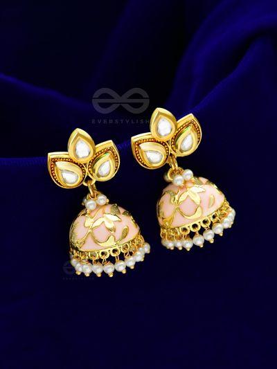 The Kundan Leafy Affair- Enamelled Golden Jhumki - Peachy Glow