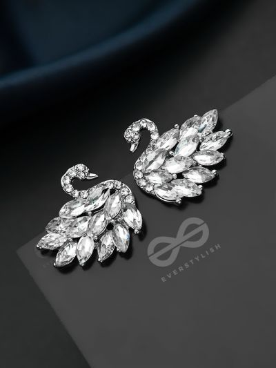 The Crystal Feathered Swans - Statement Embellished Stud Earrings
