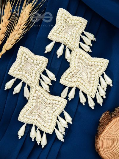The Royal Glamour - Embroidered Pearl Statement Earrings