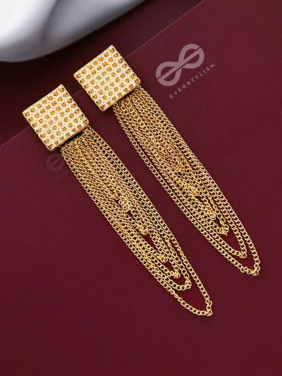 Geomteric Shimmer In a Loop - Golden Statement Earrings