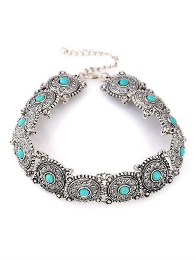 Antique Silverette Turquoise Choker