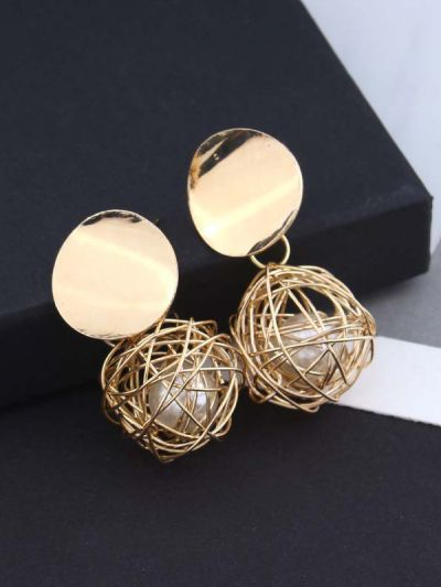 Mirror reflection- pearl in a cage of gold earrings
