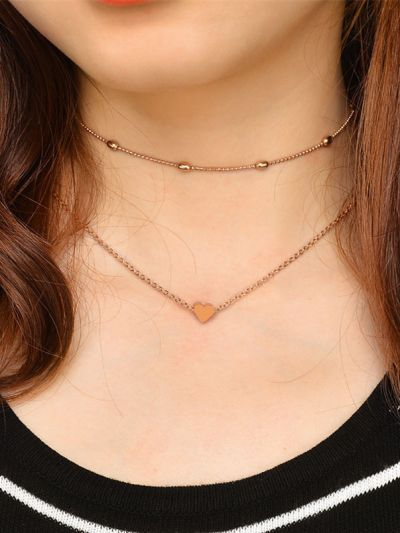 Charming beauty double layered Heart necklace