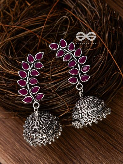 The Elegance of Nature (Ruby Red) Jhumkas - Embellished Oxidised Collection