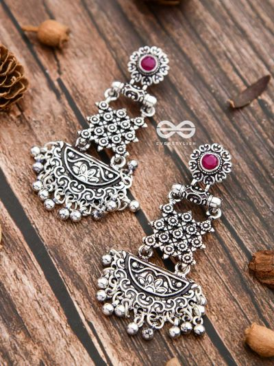 The Embellished Oxidised Collection - Intricate Delight Earrings- Red