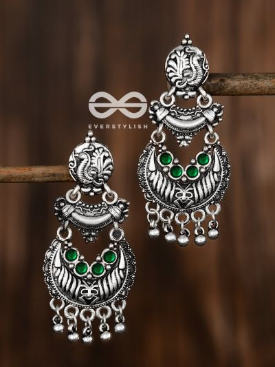 The Artistic Triple Layered Danglers (Emerald Green) - The Embellished Oxidised Collection