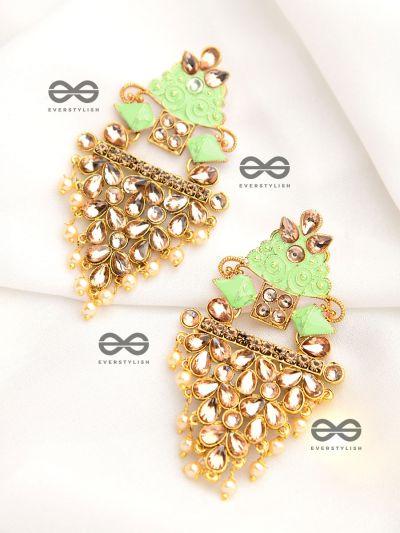 The Marvellous Meenakari Collection - Aanya Earrings - Green