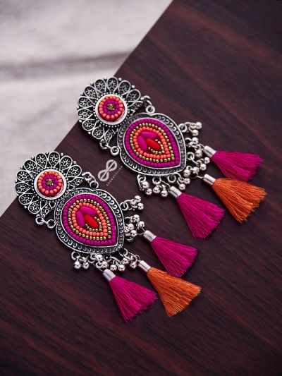 The Layered Tasseled Statement Makers (Pink-Orange) - The Embroidered Oxidised Collection