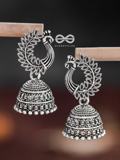 The Intricate Peacock Jhumkis - Oxidised Boho Earrings