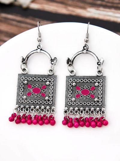 The Embellished Trunk - Oxidised Boho Earrings - Pink