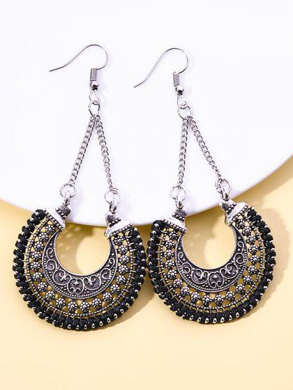 The Motif Touch Oxidised Boho Earrings- Black