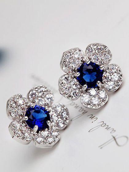 Beautiful Blue Rhinestone Floral Studs