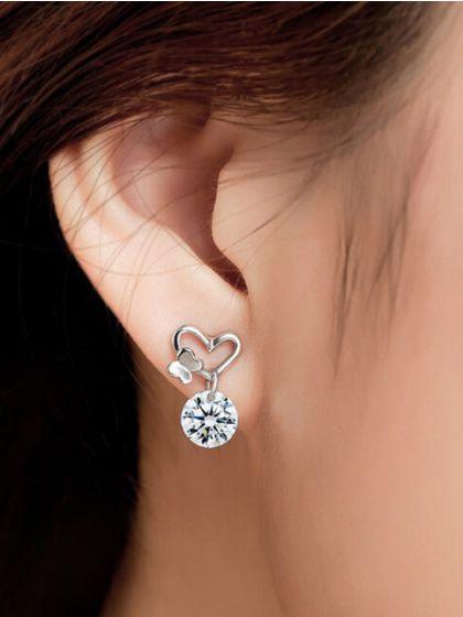 Silver Butterfly Heart AD Earrings