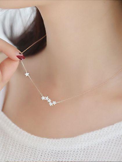 Silver Twinkling Stars American Diamond Neckpiece