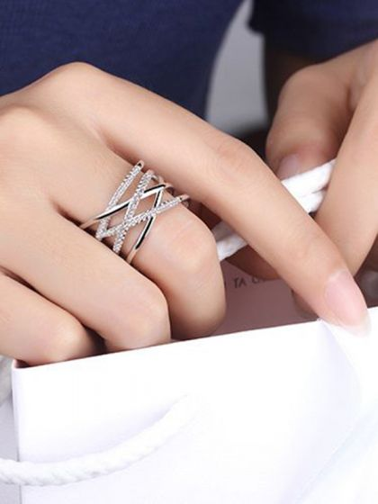 Ardent Crisscross Adjustable American Diamond Ring