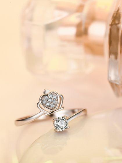 Silverette Princess Crown Adjustable AD Ring