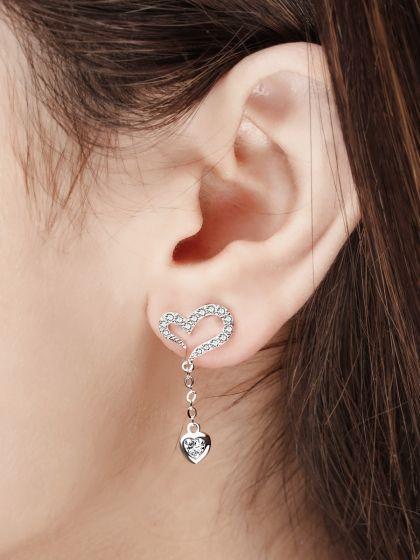 Hearts Fall In Love AD Silverette Earrings
