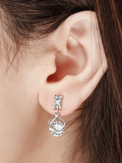 Striking Square Cut Solitaire AD Earrings