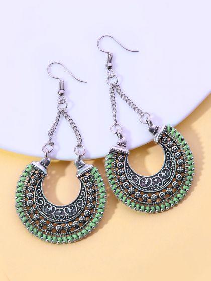 The Motif Touch Oxidised Boho Earrings- Green