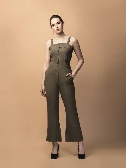 Vivacious Vanessa Tie-Up Jumpsuit- Olive Green