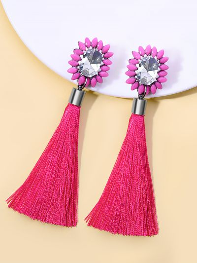 Incandescent High On Style Tassel Earrings- Pink