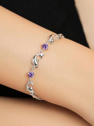 Silver Dancing Dolphins AD Bracelet - Purple