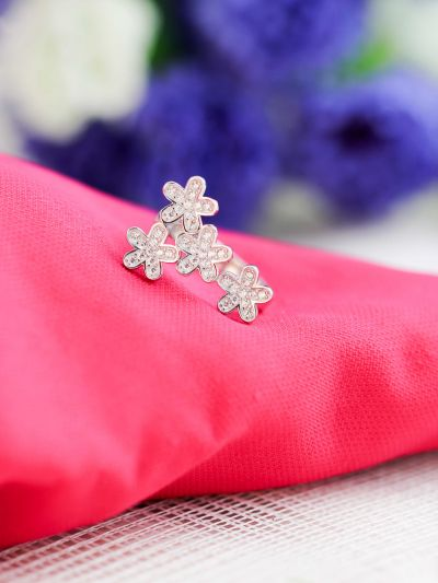 Silver Floral Statement Adjustable AD Ring