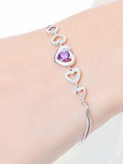 Charming Cupid Hearts American Diamond Bracelet- Purple