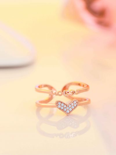 Golden Love Heart Adjustable AD Dual Ring