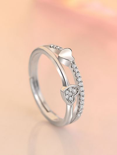 Silver Layered Hearts Adjustable CZ Ring